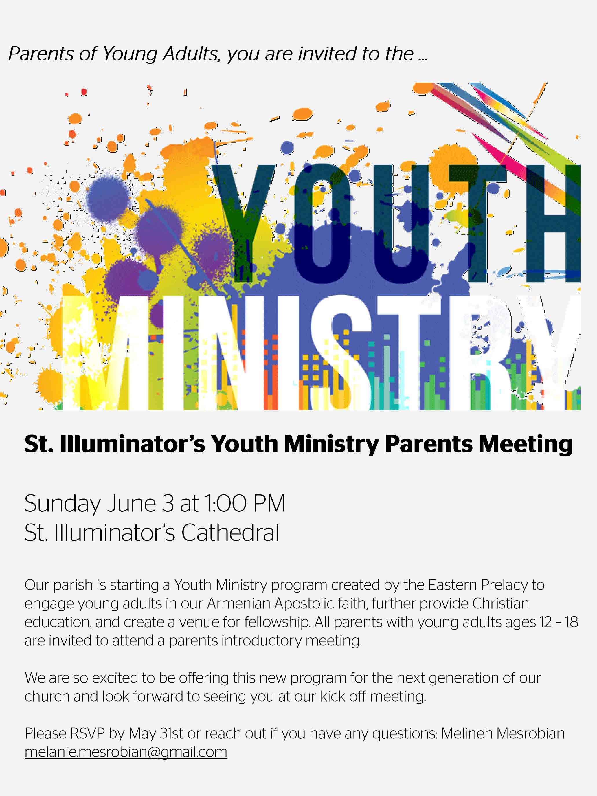 Youth Ministry: Meeting for Parents - St  Illuminator's