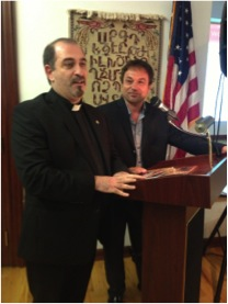 """Rev. Fr. Mesrob Lakissian and his childhood                                                         friend Bared Maronian, director of                                                                         """"Orphans of the Genocide"""" documentary"""