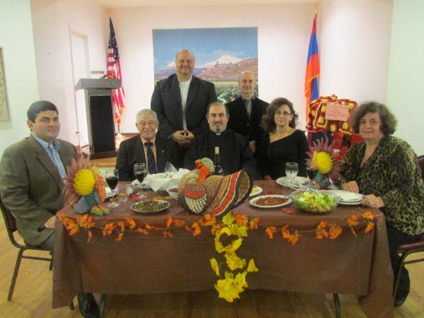 Fr. Mesrob and Yn. Ojeen Lakissian with Board members Yervand Kasparian, Joseph Vartanian, Antranig Vartanian, Viken Najarian and Lalig Vartanian